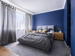 寝室の色について解説、青い部屋の事例